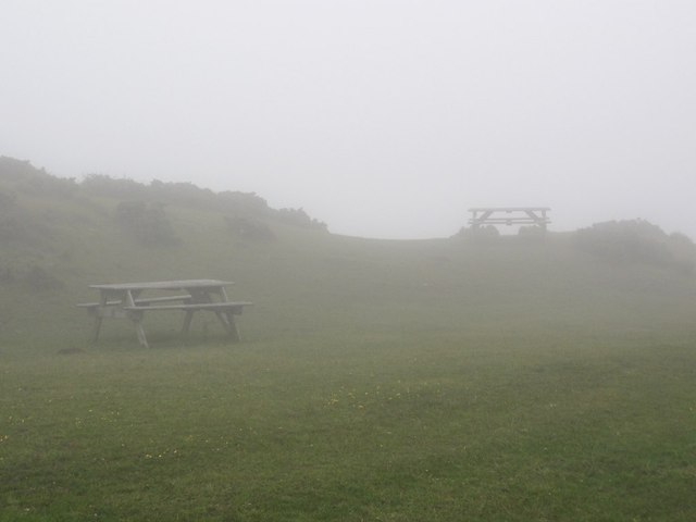 Picnic Tables on Flower's Barrow - In the Cloud