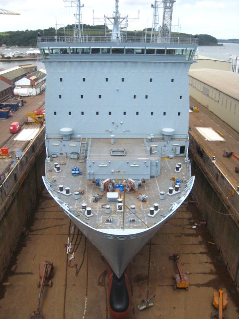 The RFA Largs Bay in the Queen Elizabeth Dock at Falmouth