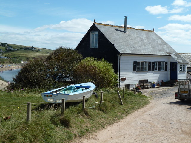 Boat and cottage, Burgh Island