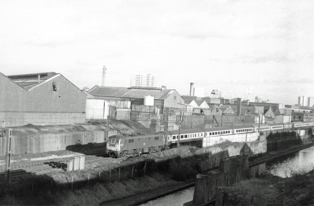 Train and Canal, Ladywood, 1978