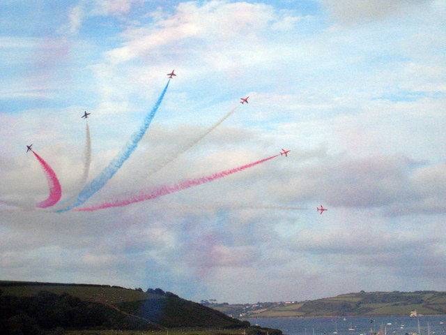 The Red Arrows above Trefusis Point