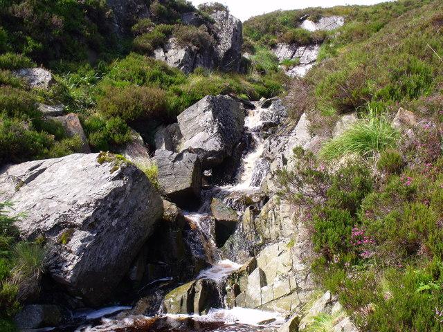 Waterfall on burn draining off north side of Beinn Bhreac near Aberfoyle