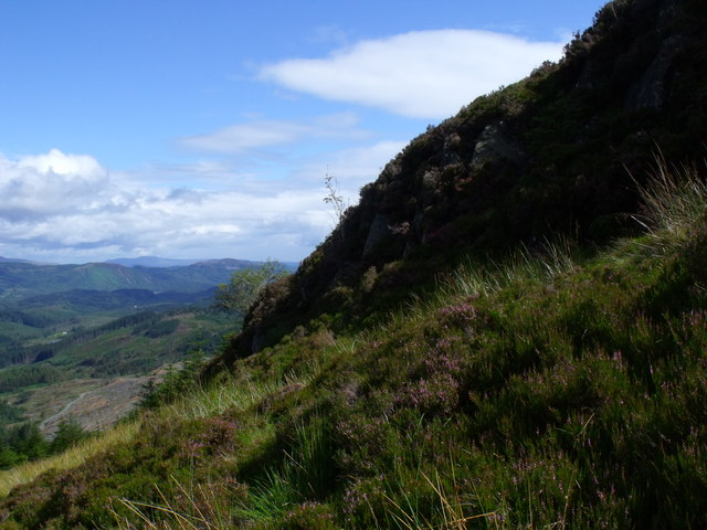 West side of ridge overlooking clearfell in Loch Ard Forest and  carrying the 'High Road to Drymen'
