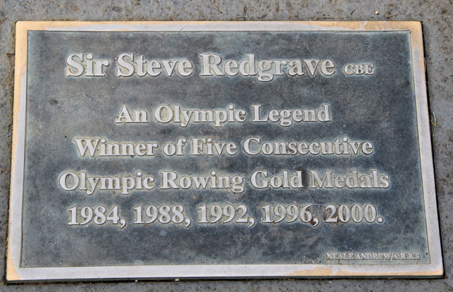 Plaque on statue of Sir Steve Redgrave, Marlow, Buckinghamshire