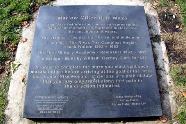 Plaque for Marlow Millennium Maze, Marlow, Buckinghamshire