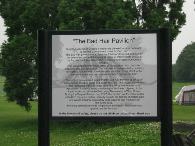 The Bad Hair Day Pavilion sign