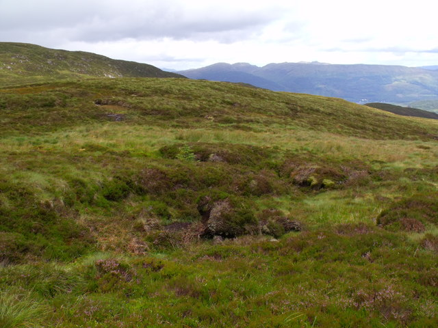 Boggy source of burn flowing down into Loch Ard Forest near Aberfoyle