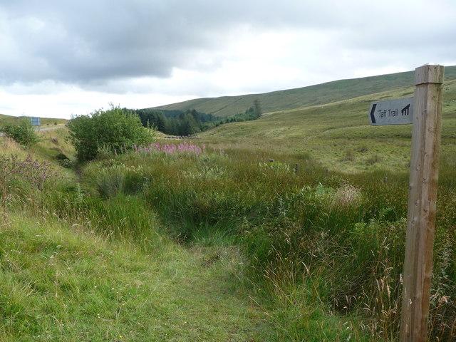 Taff Trail waymarker beside the A470 road