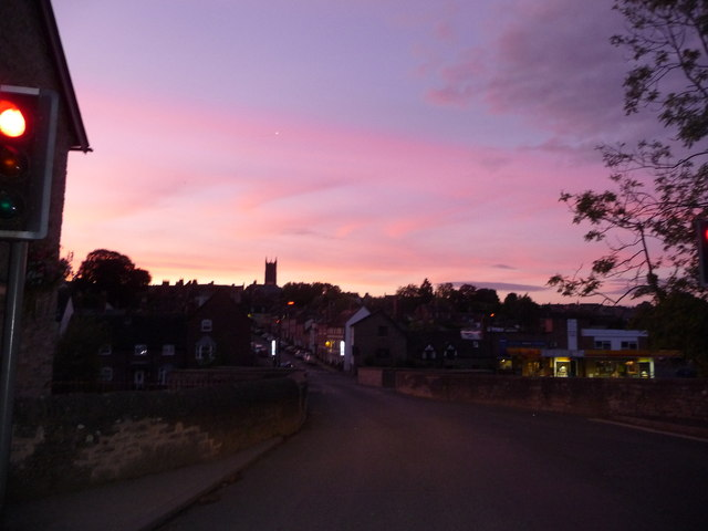 St. Laurence's tower from Ludford Bridge, summer sunset