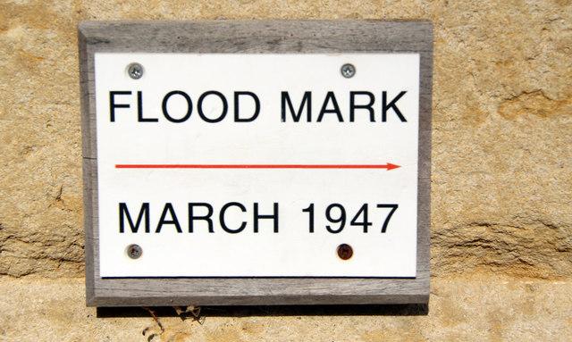 Notice on Marlow Suspension Bridge regarding 1947 Flood
