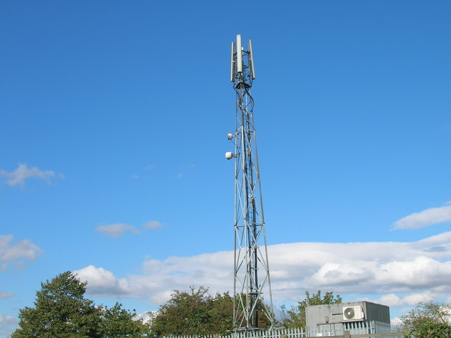 Communications mast near Blyth Services