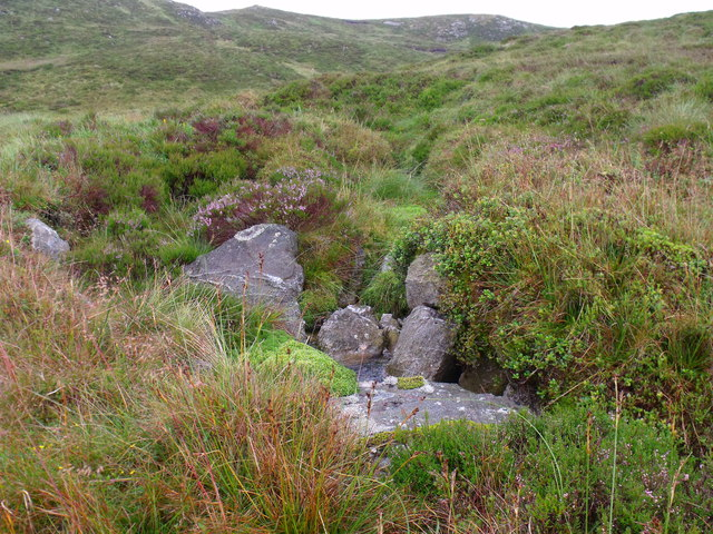 First appearance of running water in the outflow of lochan north of Binnean nan Gobhar in Loch Ard Forest