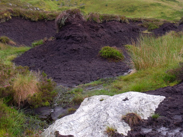 Rock and peat in boggy ground between rock knolls to the north of Binnean nan Gobhar