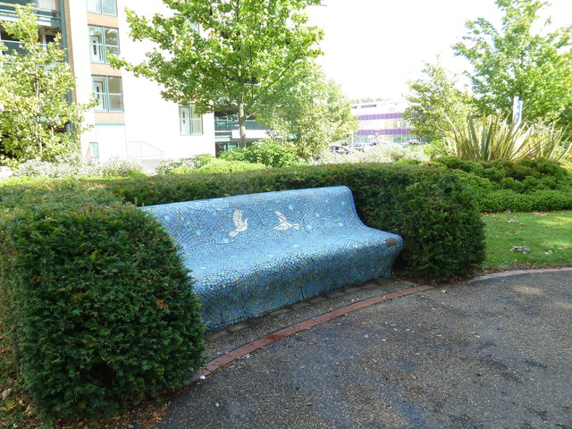 Mosaic seat in the Memorial Gardens