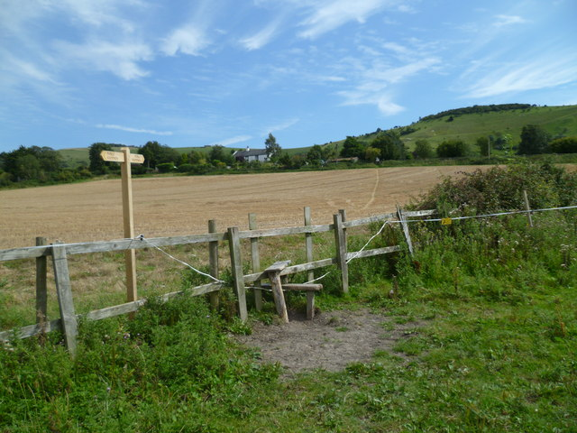 Another stile and signpost on the way to Fulking