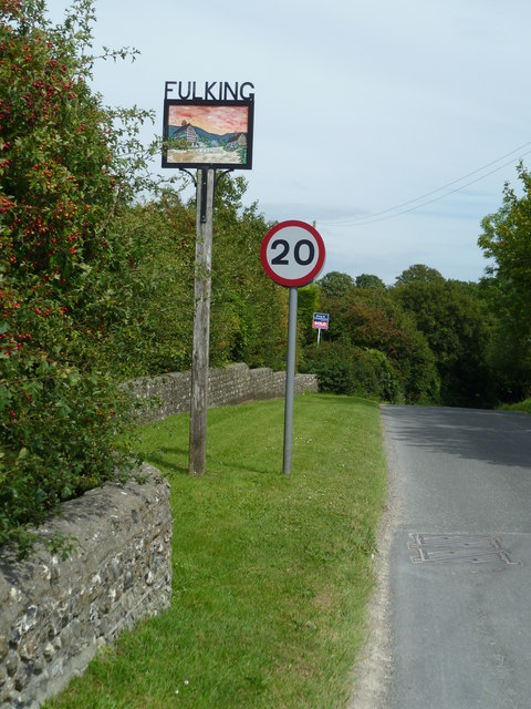 Fulking village sign on the road in from the west