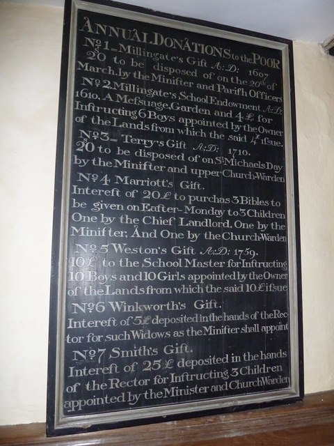 Dummer - All Saints Church: Benefactions Board