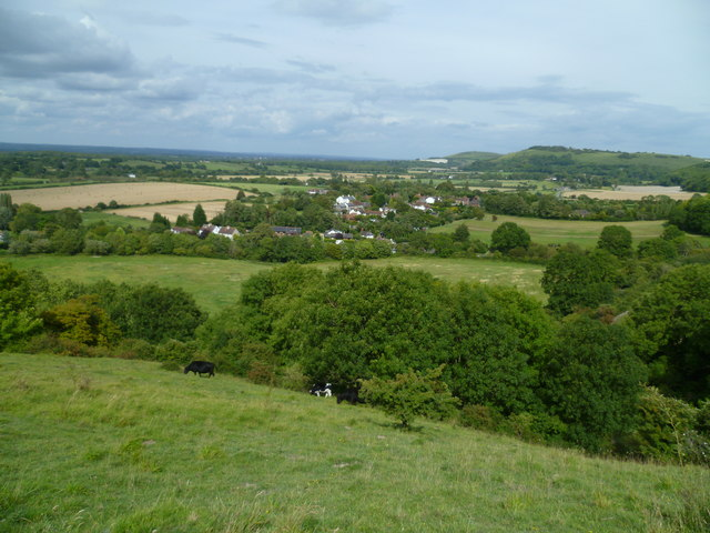 Fulking viewed from a footpath on the escarpment