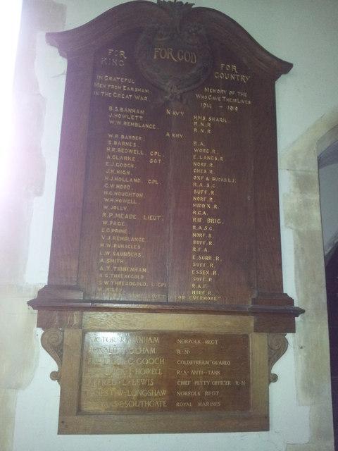 War memorial in All Saints Church, Earsham