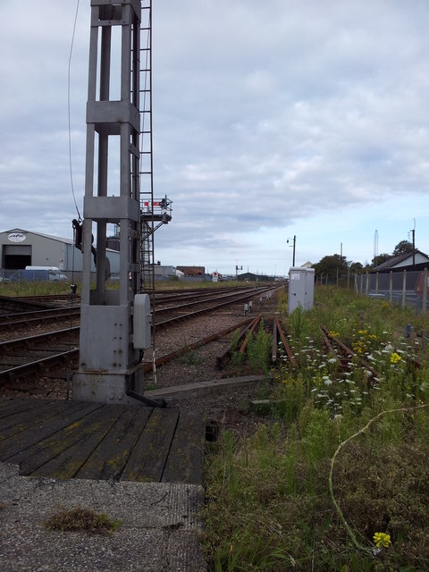 Rail tracks west of Lowestoft Station