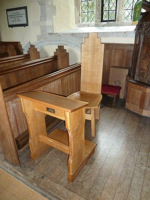 Dummer - All Saints Church:  prayer desk and intriguing chair