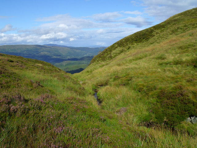 Downstream in burn course north of Beinn Bhreac in Loch Ard Forest