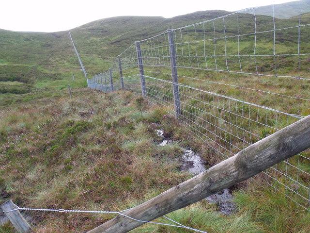 Loch Lomond Park and Loch Ard Forest boundary fence running westwards