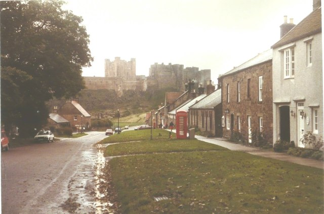 Bamburgh castle and village in 1984