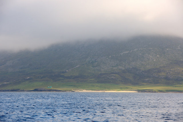Traigh am Teampuill and the slopes of Ceapabhal from the sea