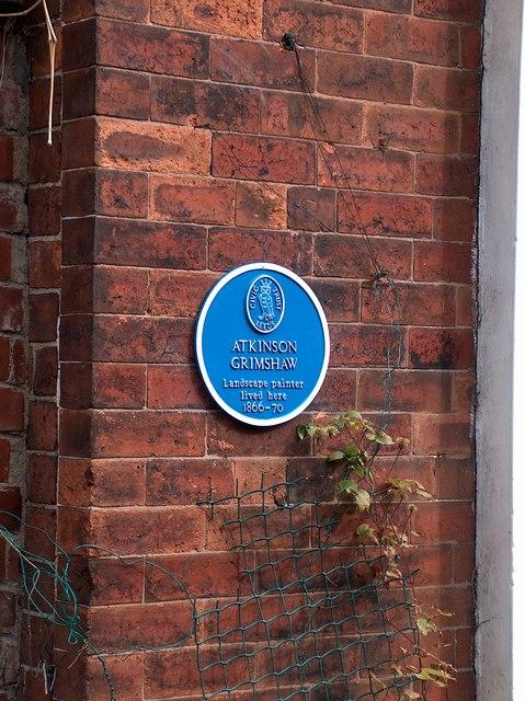Leeds Civic Trust plaque on Atkinson Grimshaw's house