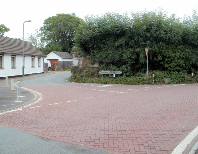 Bricked fork in the road, Old Bedwas Road, Caerphilly