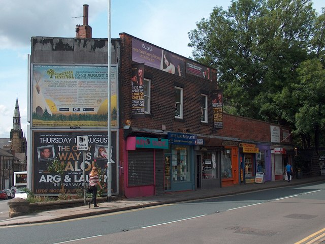 Parade of shops on Headingley Lane, Leeds , near Hyde Park Corner