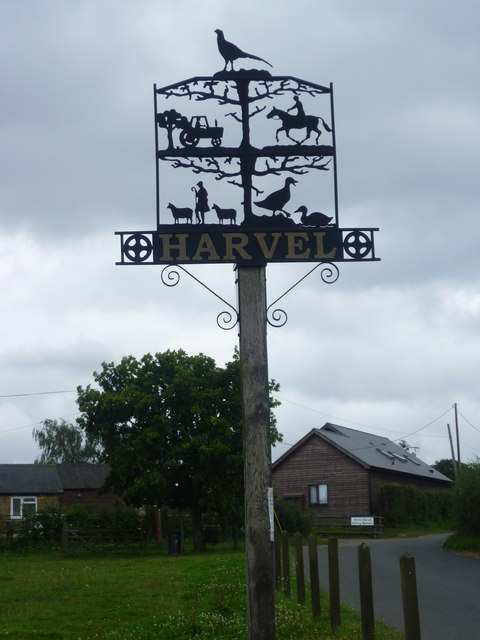 The village sign at Harvel