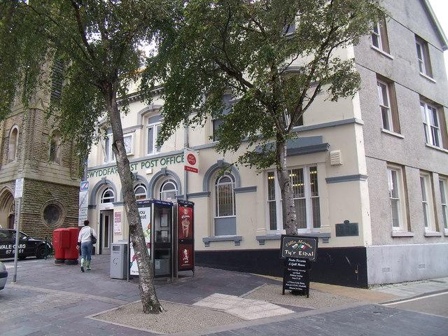 The main post office on Castle Square (Y Maes), Caernarfon
