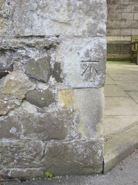 Bench mark on St Oswald's, Flamborough