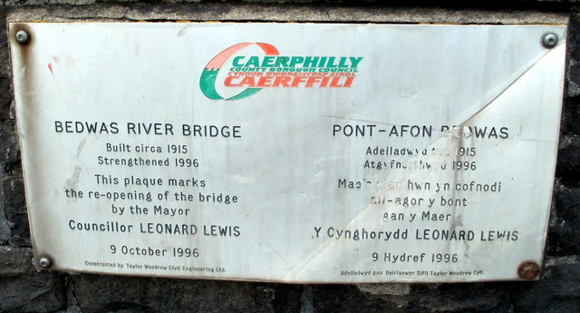 Bedwas River Bridge plaque