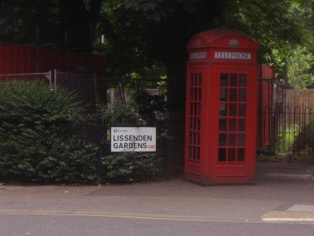 Phone box on corner of Lissenden Gardens