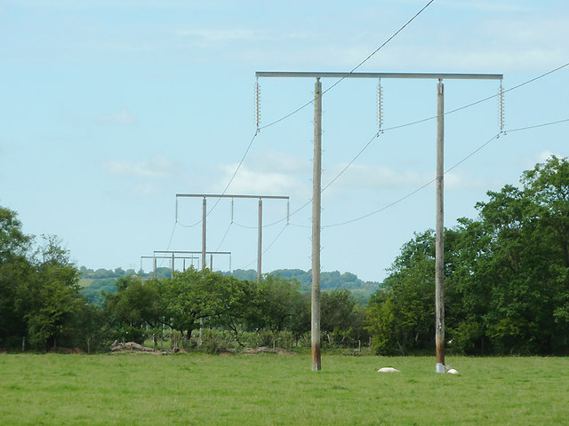 Power lines along the Teifi Valley, Ceredigion