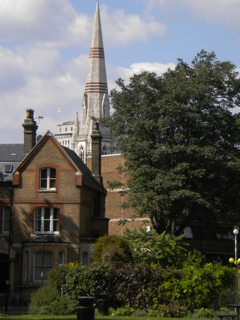 Buildings viewed from Imperial War Museum Gardens, Lambeth Road SE1