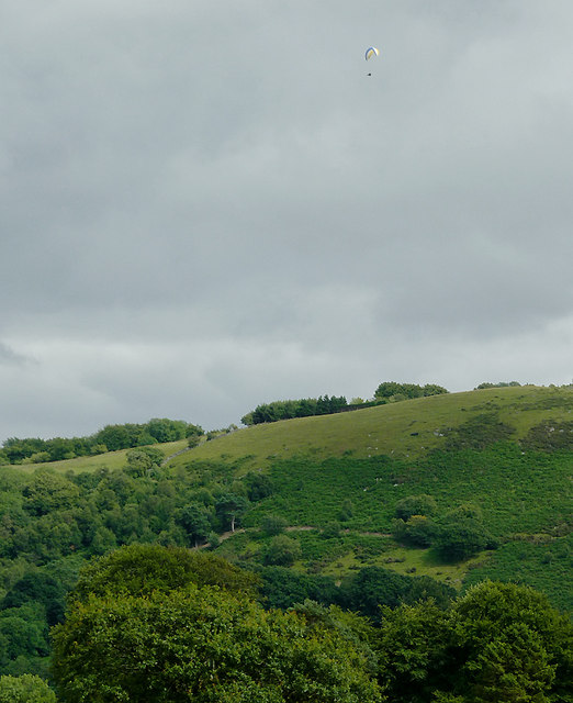 Hillside with hang glider, south-west of Llanddewi-Brefi, Ceredigion