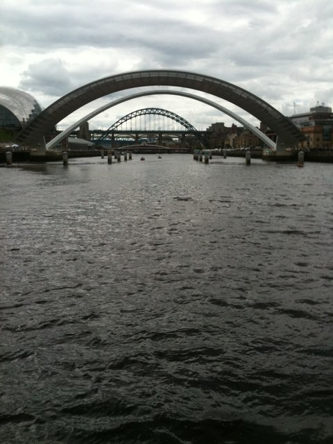 Lifted Millennium bridge, and Tyne Bridge. Newcastle upon Tyne