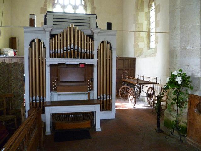 Organ and casket cart in Poynings church