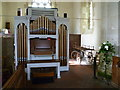 TQ2612 : Organ and casket cart in Poynings church by Shazz