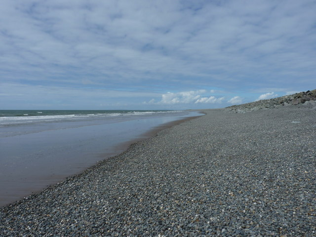 Sand and shingle at the north end of Tywyn beach