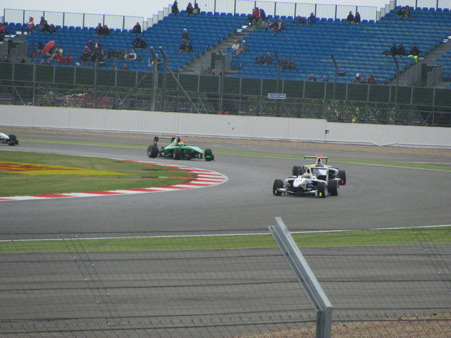 GP3 cars at Stowe corner Silverstone