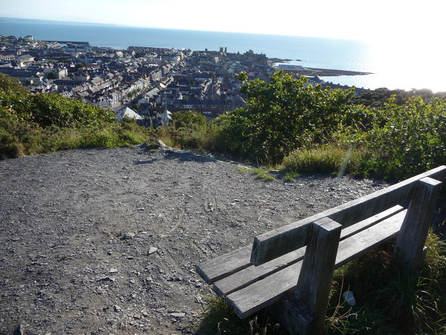 Bench overlooking Aberystwyth town