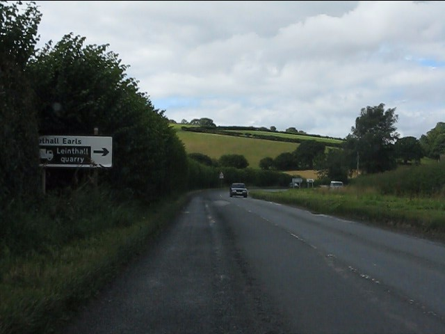 A4110 approaching the junction for Leinthall Earls