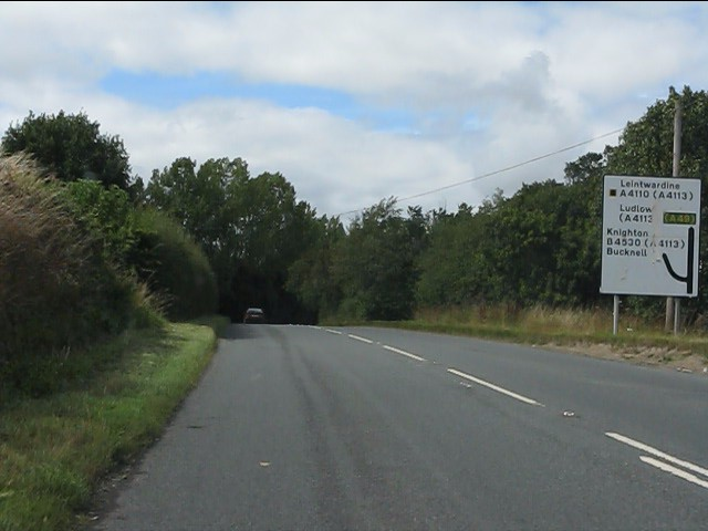A4110 approaching the junction for Knighton (B4530)