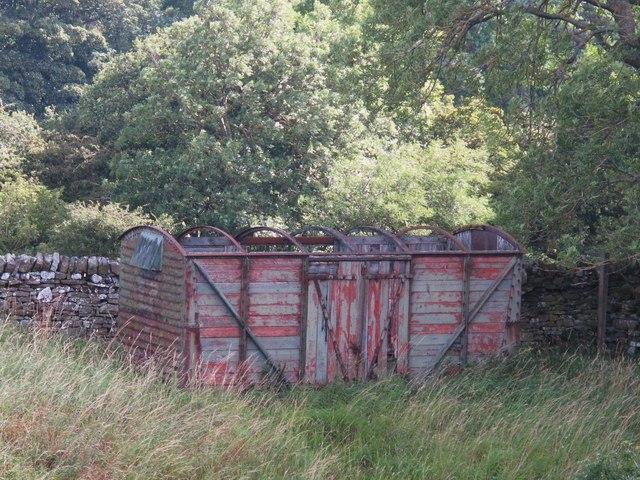 Old railway goods van near Greenhead Farm