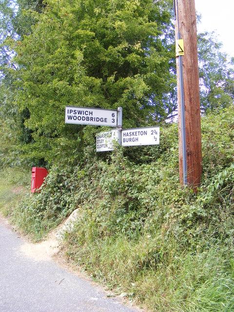 Roadsign & Burgh Corner Postbox